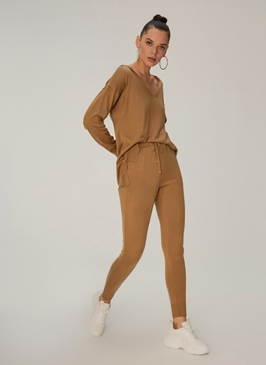 NGSTYLE Ribanalı Örme Pantolon Camel